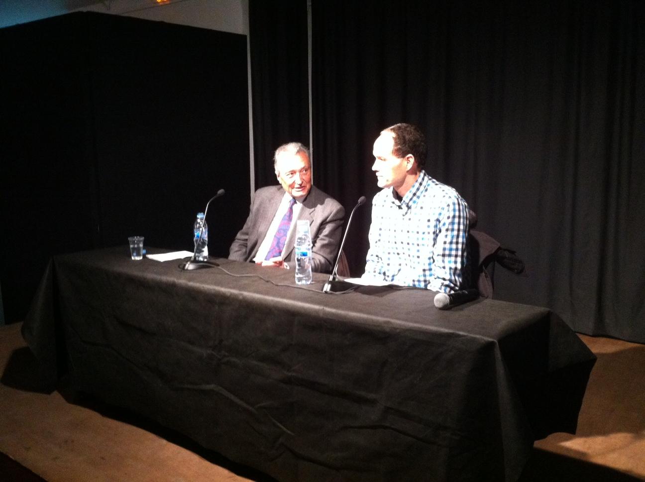 D'esquerra a dreta, el periodista Martí Anglada i el president de l'ANC a Tarragona, Albert Cortés.