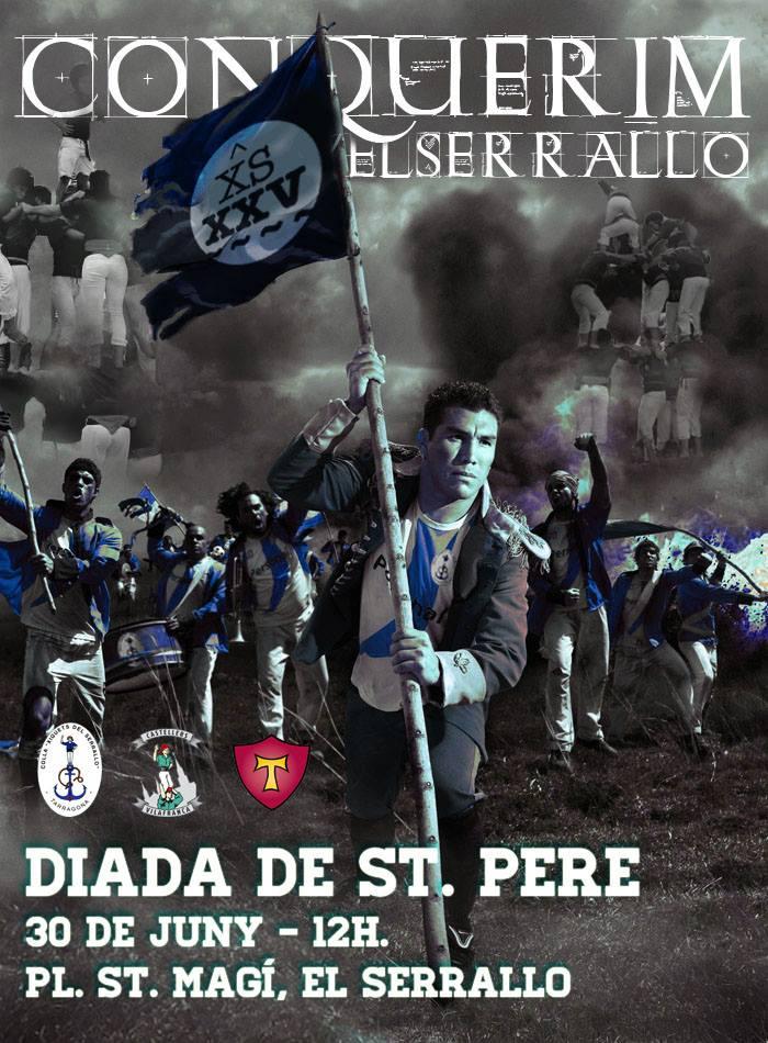 """Cartell de la diada de Sant Pere, titulat """"Conquerim el Serrallo"""" (FONT: Xiquets del Serrallo)."""