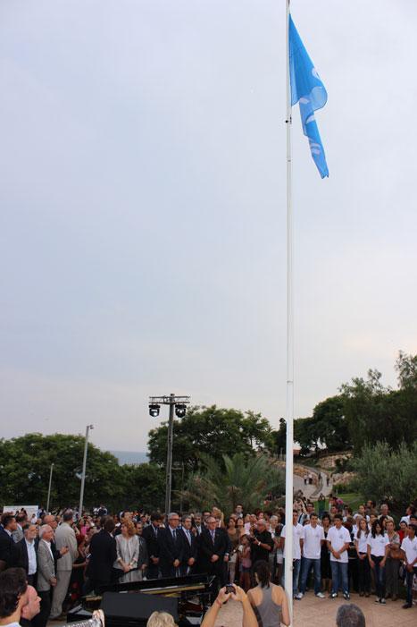 La bandera blava dels Jocs Mediterranis ja oneja a Tarraogna
