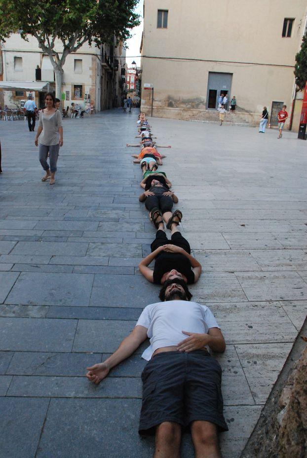 Un moment de l'actuació a la plaça del Rei (foto cedida CA Tarragona)