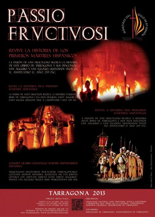 Cartell de La Passió de Sant Fructuós que es representarà a la Tarraco Arena Plaça amb motiu de les beatificacions a més de 500 màrtirs
