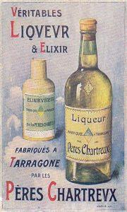 Etiqueta promocional del licor en francès.