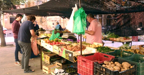 Una de les parades del mercat de pagès de la plaça del Fòrum (foto: naciodigital.cat)