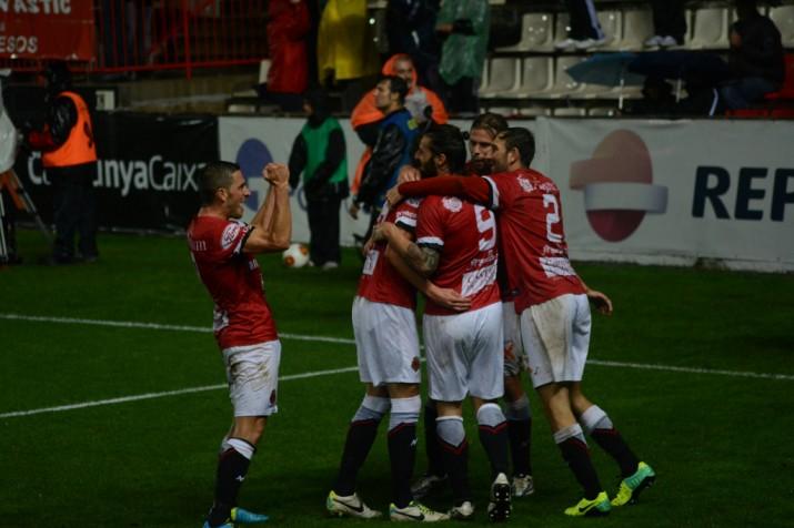 Celebració del gol de David Querol davant del Reus. Era el 2 a 1 favorable al Nàstic. Foto: Nàstic