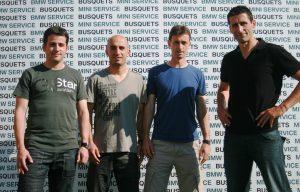 El cos tècnic amb Miquel Aguza, Javi Garcia, Santi Castillejo i Adolfo Baines. Només Baines que serà segon de Moreno seguirà. Foto: Nàstic
