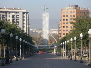 La Rambla Francesc Macià, amb la plaça de les Corts Catalanes al fons
