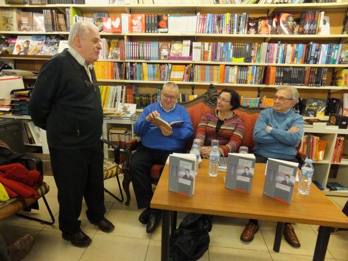 D'esquerra a dreta: Ramon Marrugat, Ignasi Riera, Montserrat Duch i Lluís Maria Moncunill a la Llibreria de la Rambla