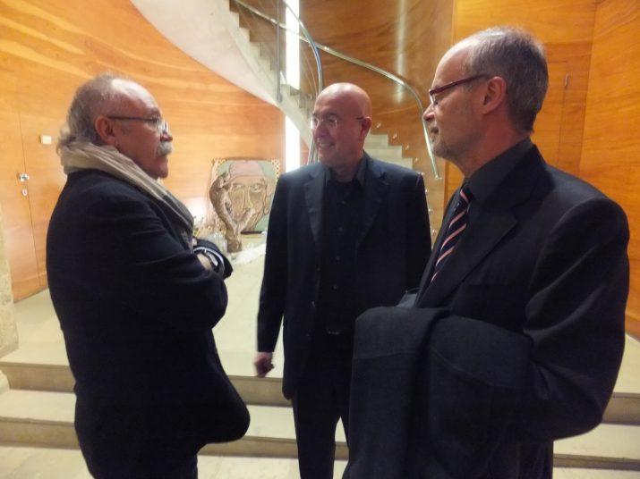 Josep Lluís Carod-Rovira, Joan Manuel Tresserras i Antoni Castells, a la seu del Departament de Cultura a Tarragona, abans de la presentació del llibre '2014'