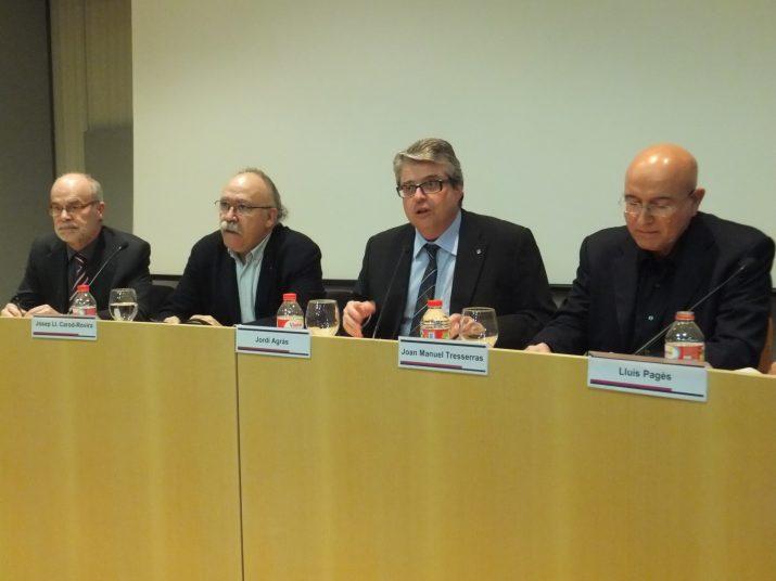 Els tres exconsellers van estar acompanyats de Jordi Agràs, director territorial de Cultura de la Generalitat