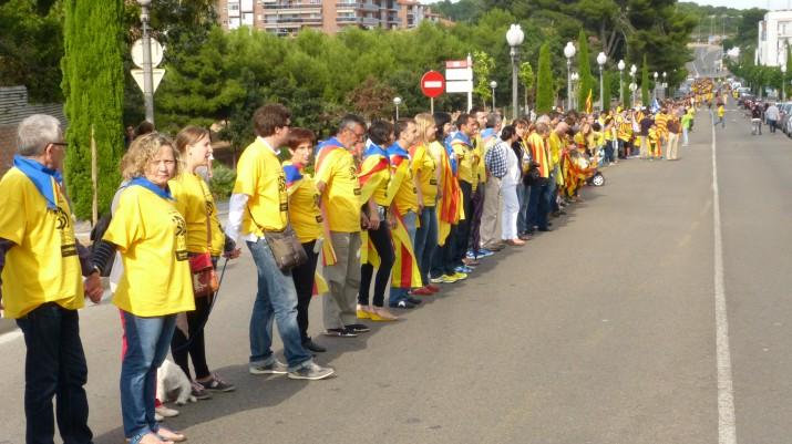 La Via Catalana de l'Onze de Setembre de 2013, al seu pas per la Via Augusta, a Tarragona (foto: ANC)