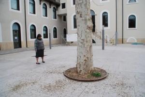 La directora de l'EOI, Yolanda Scott-Tennent, observa la brutícia al pati de la Chartreuse