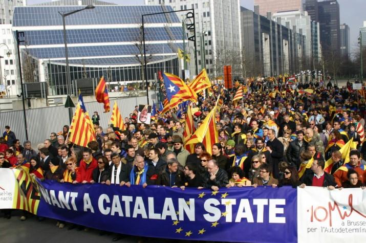 Manifestació de catalans a Brussel·les l'any 2009 reclamant la creació d'un nou estat
