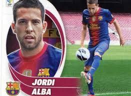 Jordi Alba va defensar la samarreta del Nàstic la temporada 2008/09. Cromo de la col·lecció Panini de la lliga 2013/14