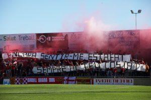 Orgull Grana a un dels gols del Municipal de Reus. Foto cedida per L'Esportiu