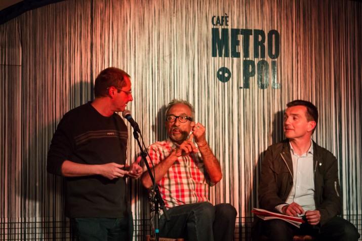 Oriol Grau, Pere Navarro i el director del FET a TARRAGONA  a l'acte del Cafè Metropol (foto: David Oliete)