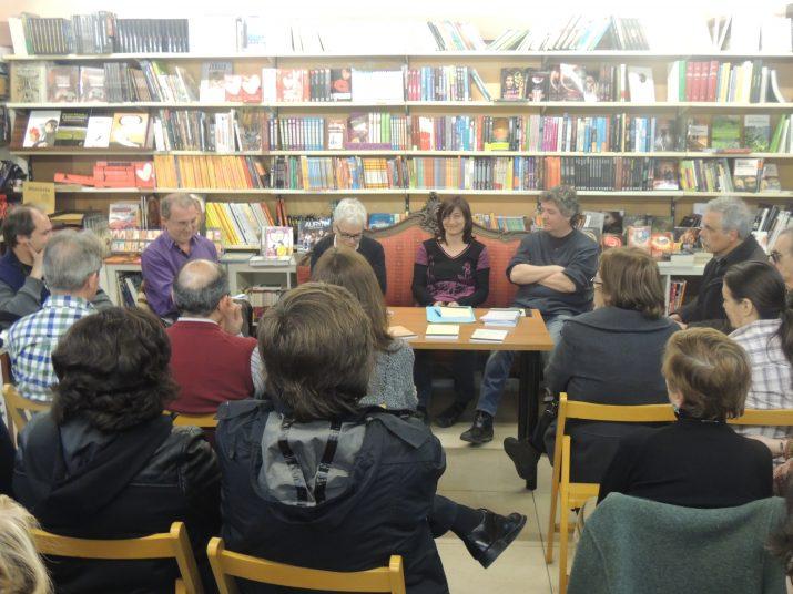D'esquerra a dreta: Magí Sunyer, Joan Cavallé, Lurdes Malgrat i el poeta i editor Albert Mestres.