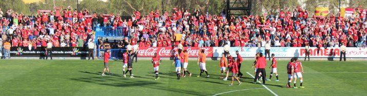Celebració de jugadors i afició del Nàstic després de guanyar a Vila-real