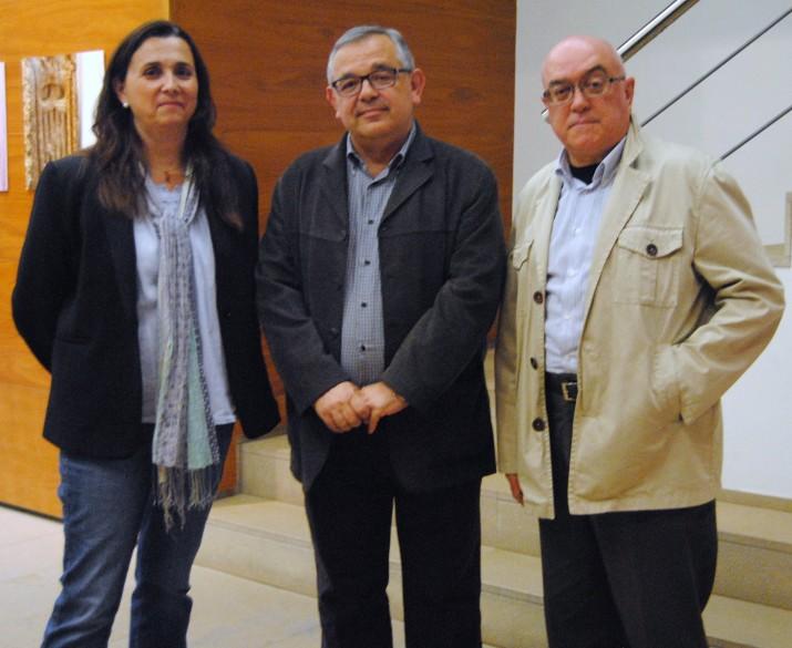 Gispert, Fuentes i Vives, abans de la seva intervenció a la xerrada-col·loqui (fotografia: Anna Plaza).