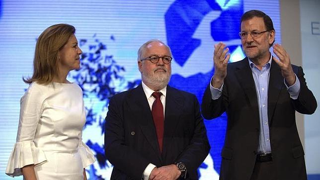 Cospedal, Cañete i Rayoy en un acte electoral del PP a Toledo (foto: ABC)