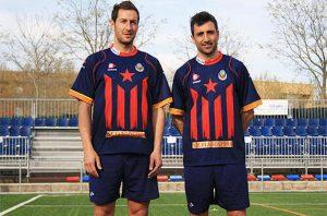 El Llagostera va lluir l'Estelada a la seva samarreta per jugar la fase final de la Copa Catalunya. foto: Mundodeportivo