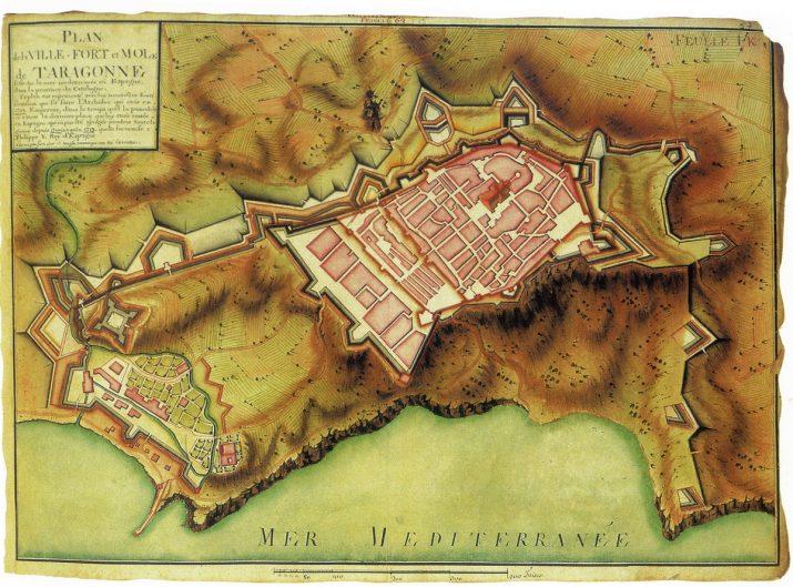 Plànol de la ciutat de Tarragona el 1713. Extret del llibre 'Cartografía de plazas fuertes' d'À. Bonet Correa (1991)