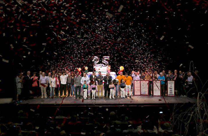 Un moment de la gala de celebració de les 25 edicions del Concurs de Castells de Tarragona (foto: Montse Riera)