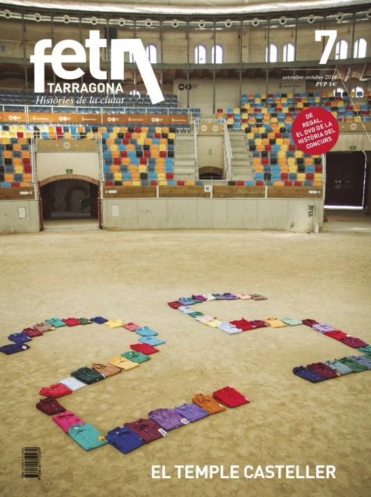 Portada de la revista, realitzada a l'arena de la TAP amb 57 camises castelleres dibuixant el número 25, en referència a l'edició del Concurs (foto: David Oliete)