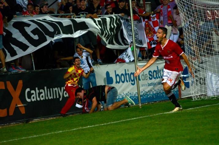 David Rocha celebra el gol de la victòria al minut 89 després d'una centrada de Jean Luc.  Foto: Nàstic