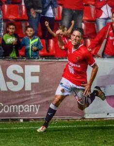 David Rocha és el jugador franquícia del Nàstic. L'extremeny celebra el gol de cap. Foto: Blas David Hernandez  a Facebook.