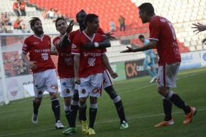 Els jugadors grana celebren el gol de Rayco. Foto: Nàstic