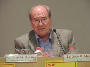 Murià, durant l'acte de presentació del llibre a Tarragona.