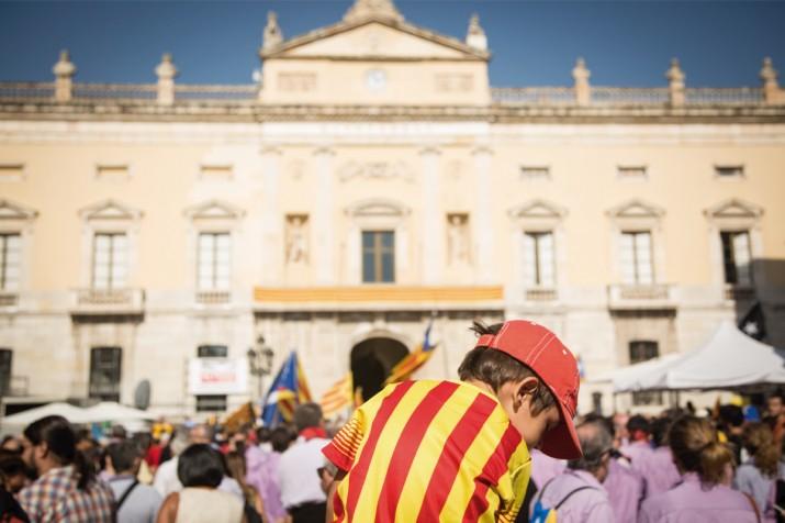 Imatge d'una de les concentracions a la plaça de la Font a favor del dret  a decidir celebrades al llarg del 2014 (foto: David Oliete)
