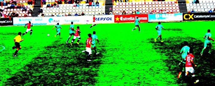 Imatge del partit entre Nàstic i Cornellà.