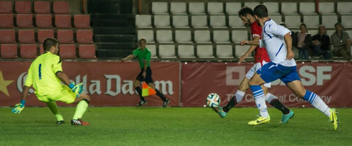 Azkorra va marcar el 2 a 2 definitiu al minut 90. Foto: Nàstic