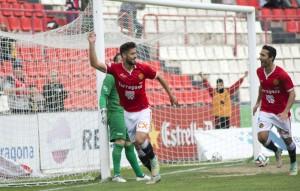 Pablo Mari celebra el seu primer gol aquesta temporada. Foto:Nàstic