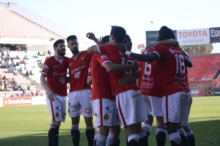 Els jugadors grana celebren el gol de Rayco. Foto:Nàstic