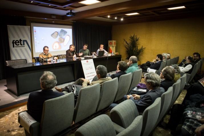 D'esquerra a dreta: Daniel Pi, Ricard Lahoz (moderador), Joan Miquel Carrillo i Òscar Palau.