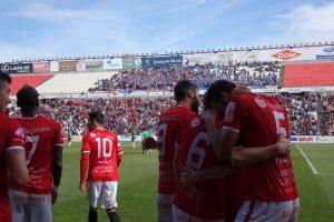 Celebració del gol de Pablo Marí (1 a 0) definitiu. Foto: Joan Alfons López