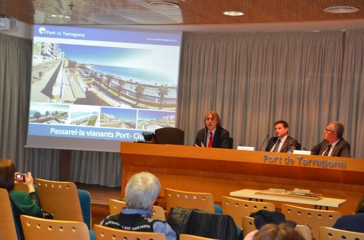 Andreu i Ballesteros en la presentació de la passarel·la que unirà la ciutat amb el mar (foto: PORT DE TARRAGONA)