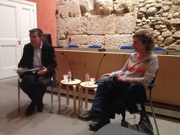 Arga Sentís, a l'acte del Col·legi d'Arquitectes amb el director del FET a TARRAGONA, Ricard Lahoz (foto: IC)