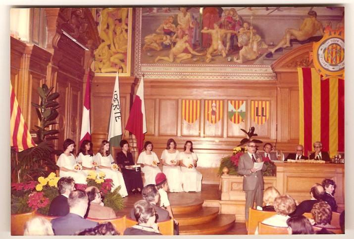 Aula Magna de la Universitat de Lausana en l'acte dels Jocs Florals a l'Exili celebrat el 1976 (foto cedida)