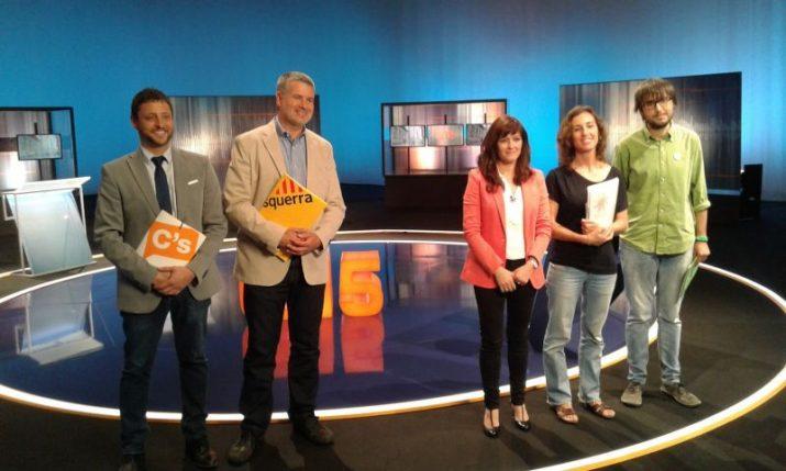 Imatge del debat a TV3, amb l'absència dels candidats del PSC, CiU i PP (foto cedida)