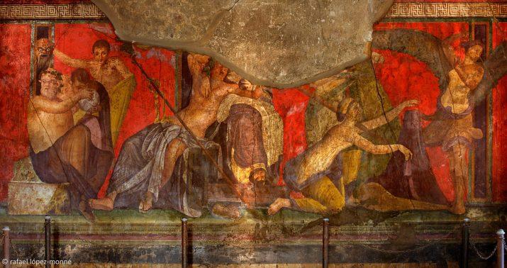 Imatge de les pintures murals sobre els rituals dionisíacs a la Vila dels Minsteris. Fotografia: Rafael López Monné