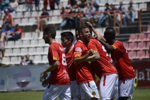 Celebració del segon gol de Marcos. Foto:Nàstic