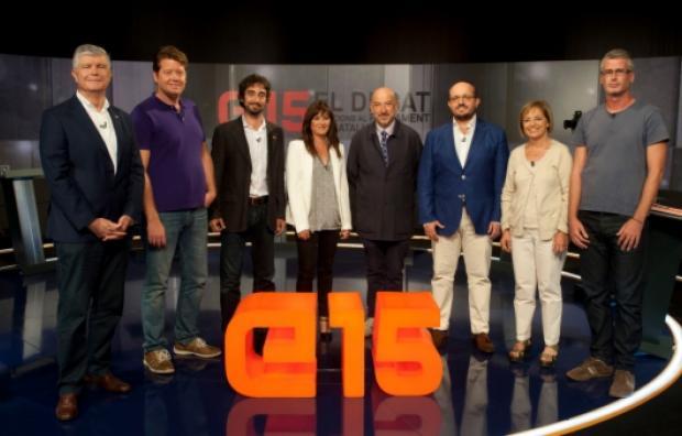 Imatge del debat a TV3 amb els caps de llista de la demarcació (foto: ANC)