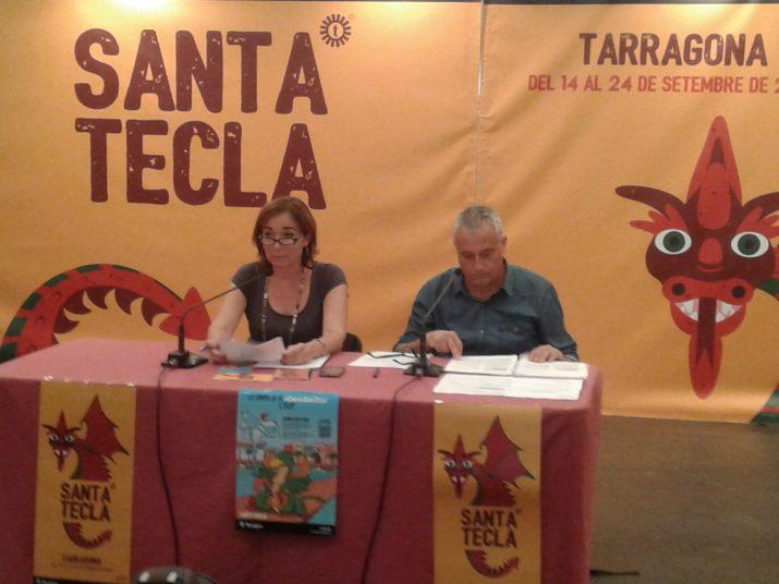 Presentació de les festes de santa Tecla amb la regidora Begoña Floría i el tècnic Xavi González