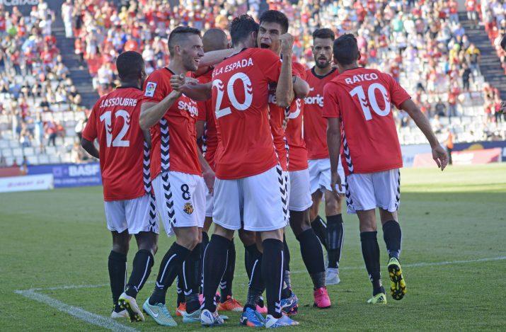 Celebració del gol de Marcos. Foto:Nàstic