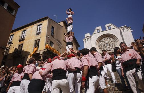 Tradicional pilar caminant dels Xiquets de Tarragona, el dia de la Mercè (foto: cedida)