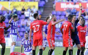 L'àrbitre del partit Pizarro Gómez havia xiulat al Nàstic en dos partits amb polèmica. A Valladolid partit plàcid amb algun error puntual. Foto:LFP
