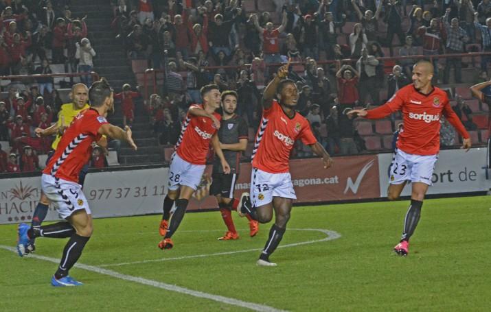 Jean Luc va acabar donant els tres punts al Nàstic amb un molt bon gol. El tercer aquesta lliga que el situa com a màxim golejador de l'equip. Foto: Nàstic